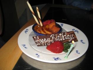 Lexie got a surprise Birthday creme brulee for her dessert