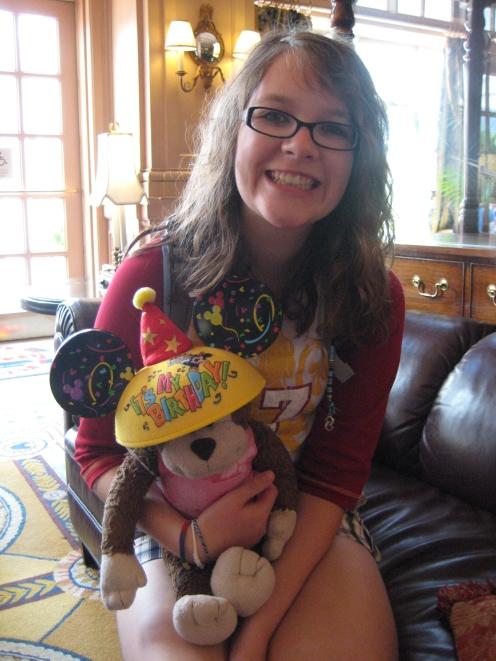 Kooky wearing Lexie's Birthday hat