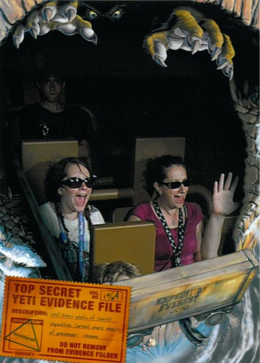 Lexie and I on the rollercoaster spotting the Yeti at Mt. Everest in Animal Kingdom.