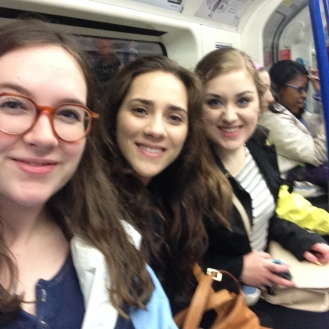 With some friends riding the Tube.