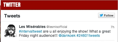 Les Mis tweeted about tonight's performance!