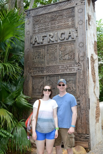 In front of the doors leading into Africa