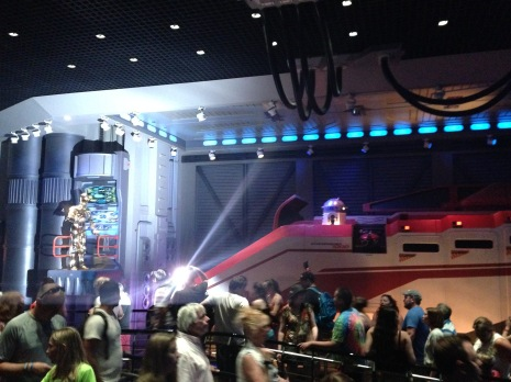 Waiting in line for Star Tours