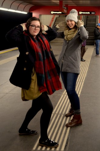 Goofing off while waiting for the train